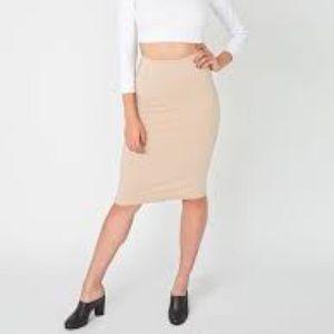 American Apparel Midi Skirt Nude Tan XS